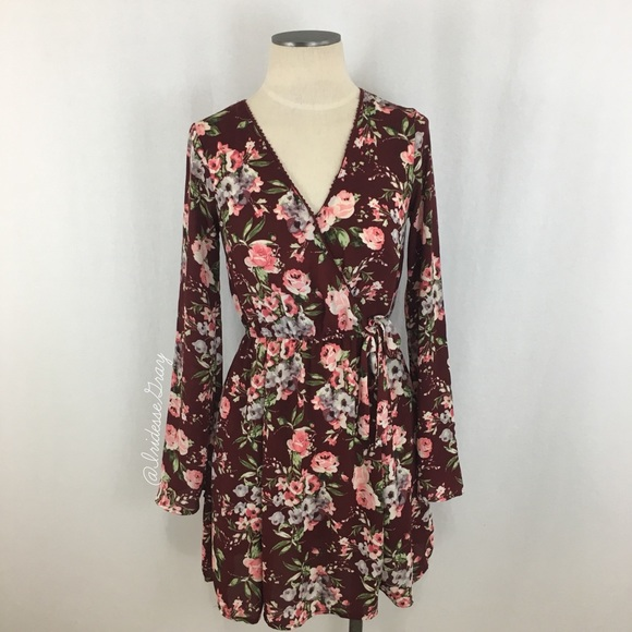 cc1a565f6 Xhilaration Dresses | Burgundy Floral Crossover Dress Sz S | Poshmark